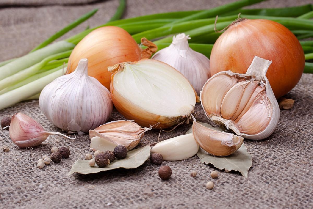 alimentos que no se deben guardar en el frigorífico: ajo y cebolla