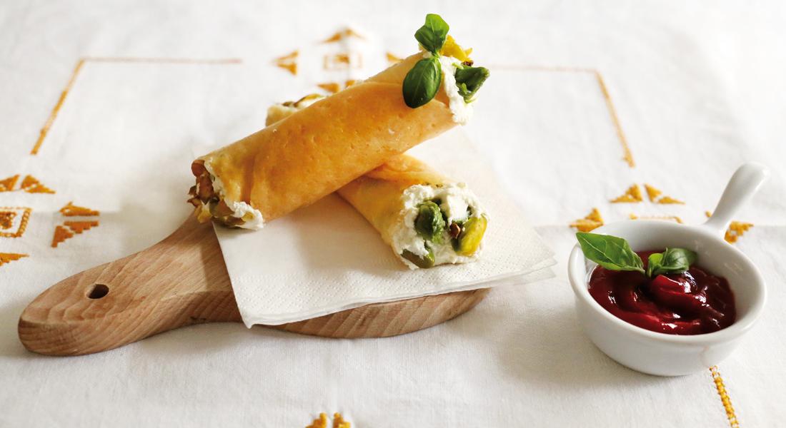 cannoli con espárragos y pistacho