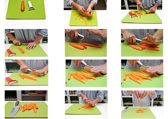 como cortar zanahorias en juliana