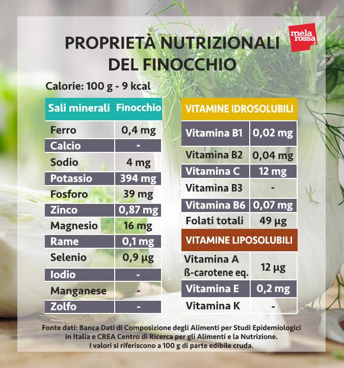 valores nutricionales del hinojo