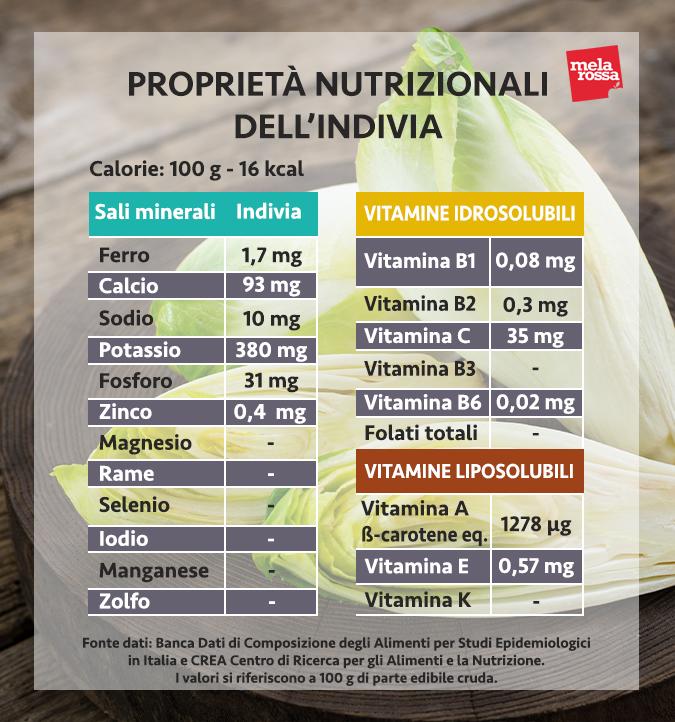 valores nutricionales de la endibia